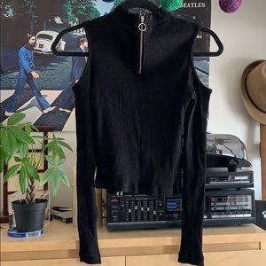 Open shoulder, long sleeve, zip up shirt